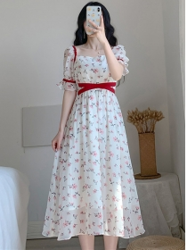 Lovely Fashion Tie Waist Square Collar Flowers Dress