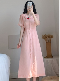 Pretty Girlish Cherry Doll Collar Single-breasted Long Dress