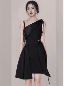 Boutique Fashion Off Shoulder Tie Waist A-line Dress