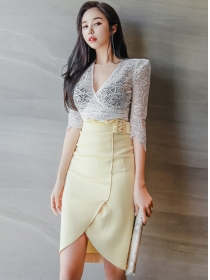Summer New V-neck Lace Blouse with Split Midi Skirt