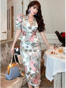 Pretty Lady V-neck Fitted Waist Flowers Puff Sleeve Dress