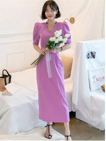 Preppy Wholesale V-neck High Waist Slim Dress