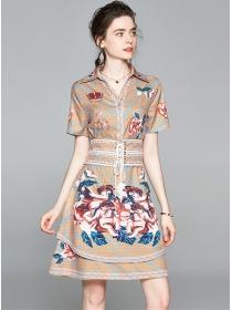 Retro Fashion Tie Waist Flowers Shirt A-line Dress
