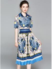 Europe Fashion Blue Leopard Flowers Pleated Shirt Dress
