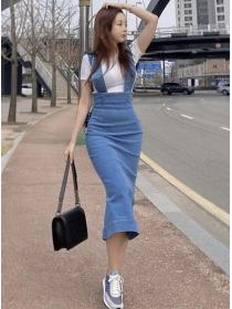 Summer New High Waist Skinny Denim Straps Dress