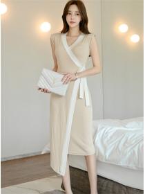 Korea Stylish Tie Waist V-neck Split Tank Dress