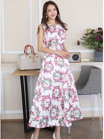 Pretty Korea 2 Colors High Waist Flowers Long Dress