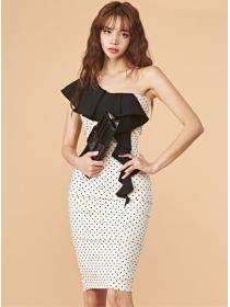 Modern Sexy Flouncing Off Shoulder Dots Slim Dress