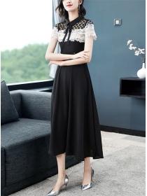 Modern Lady Color Block Lace Splicing Long Dress