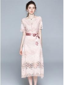 Lovely Europe Tie Waist V-neck Flowers Lace Long Dress