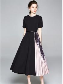Europe Fashion High Waist Lace Splicing Pleated A-line Dress