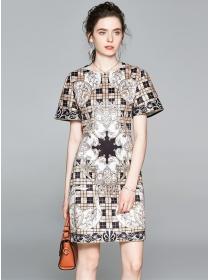 Retro Round Neck Plaids Flowers Short Sleeve Dress
