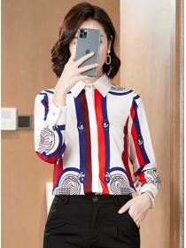 Wholesale Korea Stripes Long Sleeve Blouse