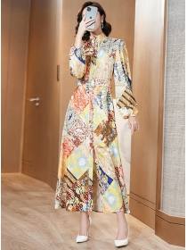 Retro Fashion Stand Collar Flowers Puff Sleeve Maxi Dress