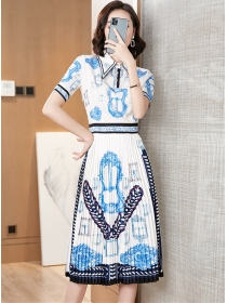 Charming Retro Shirt Collar Flowers Pleated A-line Dress