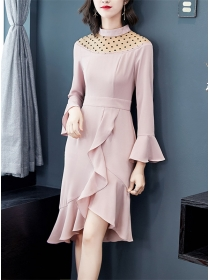Grace Lady 2 Colors Dots Gauze Flouncing A-line Dress