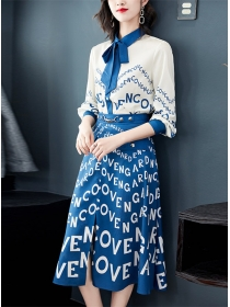 Retro Summer Tie Collar Letters Printings Dress Set