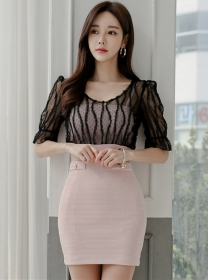 Korea Stylish Gauze Round Neck Splicing Slim Dress