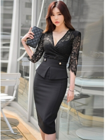 Modern OL LaceV-neck Fitted Waist Two Pieces Dress