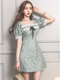 Lovely 2 Colors Bowknot Lace Puff Sleeve A-line Dress