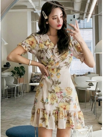 Pretty Fashion Tie Waist Flowers Fishtail Chiffon Dress