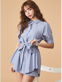 Summer New Tie Waist Flouncing Blouse with Short Pants