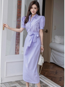 Korea New Shirt Collar Tie High Waist Two Pieces Dress