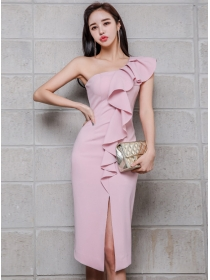 Elegant Sexy Flouncing Off Shoulder Split Tank Dress