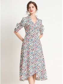 Retro Europe V-neck Flowers High Waist Long Dress