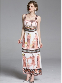 National Europe High Waist Printings Straps Maxi Dress
