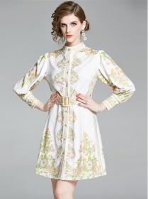 Grace Lady Single-breasted Long Sleeve Shirt Dress