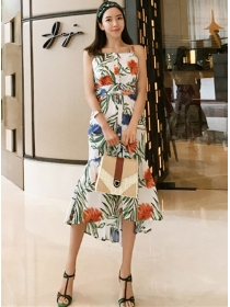 Summer Fashion 2 Colors High Waist Flowers Straps Dress