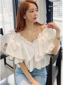 Fresh Fashion 2 Colors Flouncing V-neck Loosen Blouse