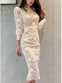 Modern OL High Waist Lace Bodycon Long Sleeve Dress