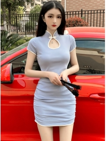 Wholesale Fashion 2 Colors Stand Collar Skinny Dress
