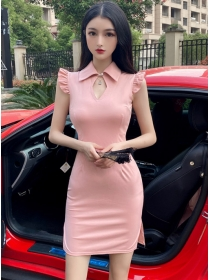 Hot Selling 2 Colors Shirt Collar Skinny Tank Dress