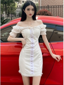 Fashion Lady 2 Colors Boat Neck Hookes Slim Dress