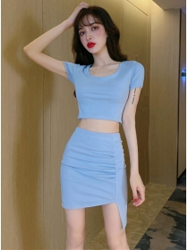 Sexy Wholesale 2 Colors Bare-midriff Two Pieces Dress