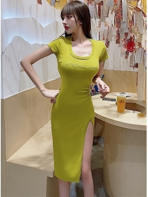 Modern New 2 Colors Letter Embroidery Split Cotton Dress