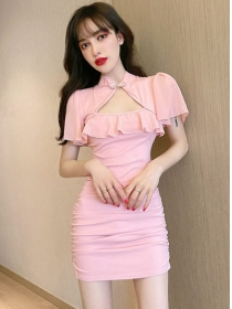 Pretty Fashion 2 Colors Flouncing Collar Pleated Dress