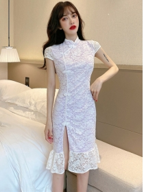 Grace Fashion Split Lace Flowers Fishtail Slim Dress