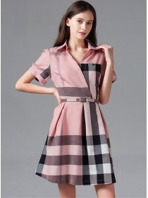 Summer Fashion Color Block Plaids Shirt A-line Dress