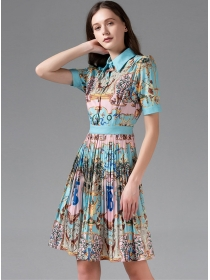 Europe Stylish Shirt Collar Pleated Flowers A-line Dress