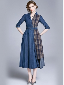 Europe Fashion Plaids Shirt Collar Splicing Denim Long Dress