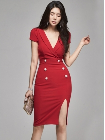 Modern Lady Tailored Collar Double-breasted Skinny Dress