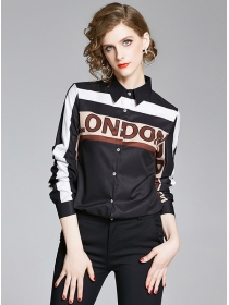 Europe Stylish Color Block Letters Long Sleeve Blouse