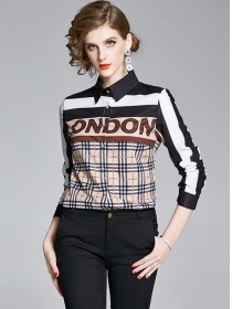 Wholesale Fashion Letters Plaids Loosen Color Block Blouse