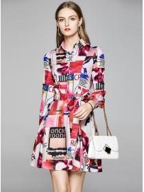 Charming Europe Tie Waist Flowers Long Sleeve A-line Dress
