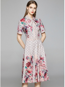 Europe Stylish Tie Collar Flowers Short Sleeve Dress