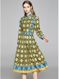 Europe Retro High Waist Shirt Collar Flowers Dress